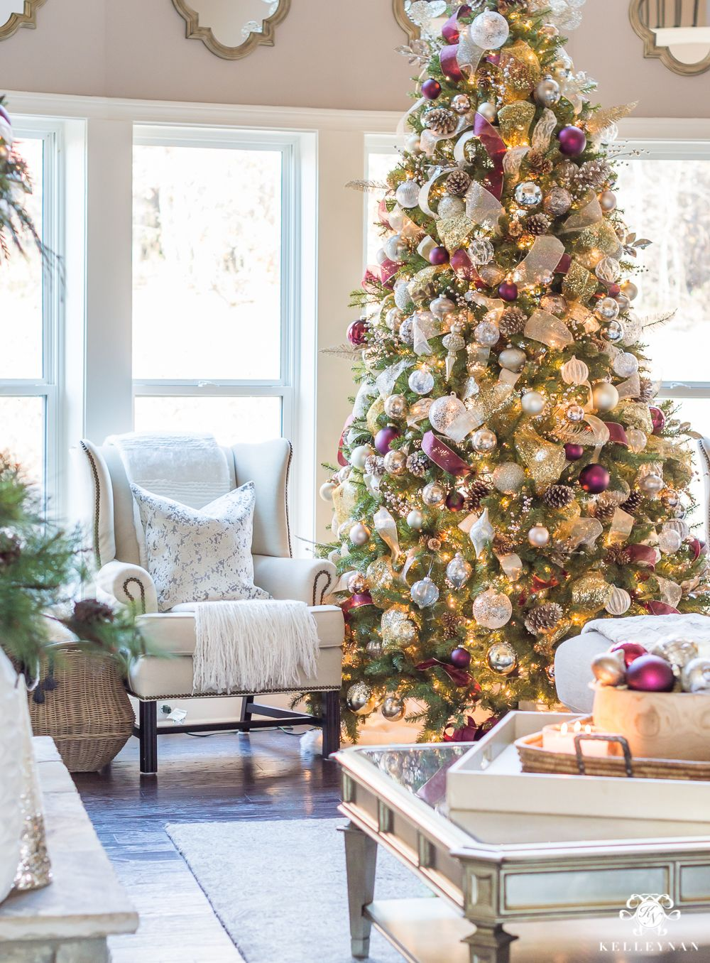 2017 Christmas Home Tour Champagne Wine And Other Christmas Color Schemes Kelley Nan Christmas Colour Schemes Christmas Tree Colour Scheme Champagne Christmas Tree