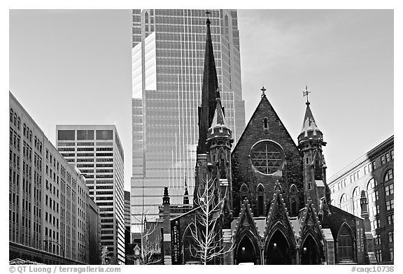 Church and modern buildings montreal quebec canada black and white