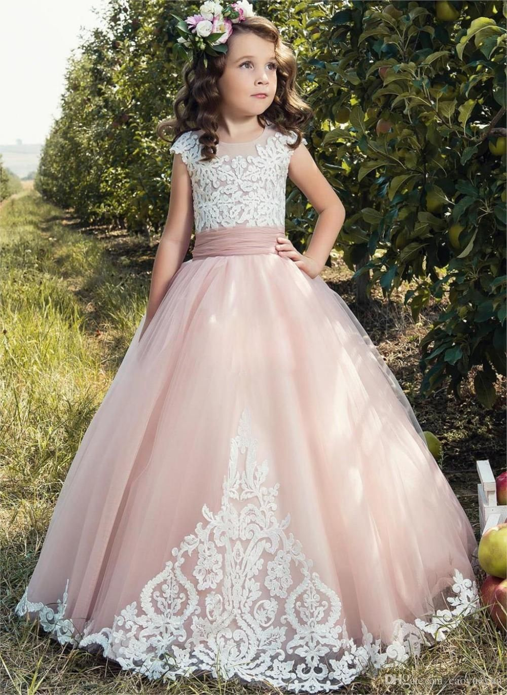 2017 Flower Girl Dresses For Weddings tulle pink Applique Cap Sleeve Kids  Ball Gown bow First Communion Dress Pageant Gowns d3d4d160cb5a