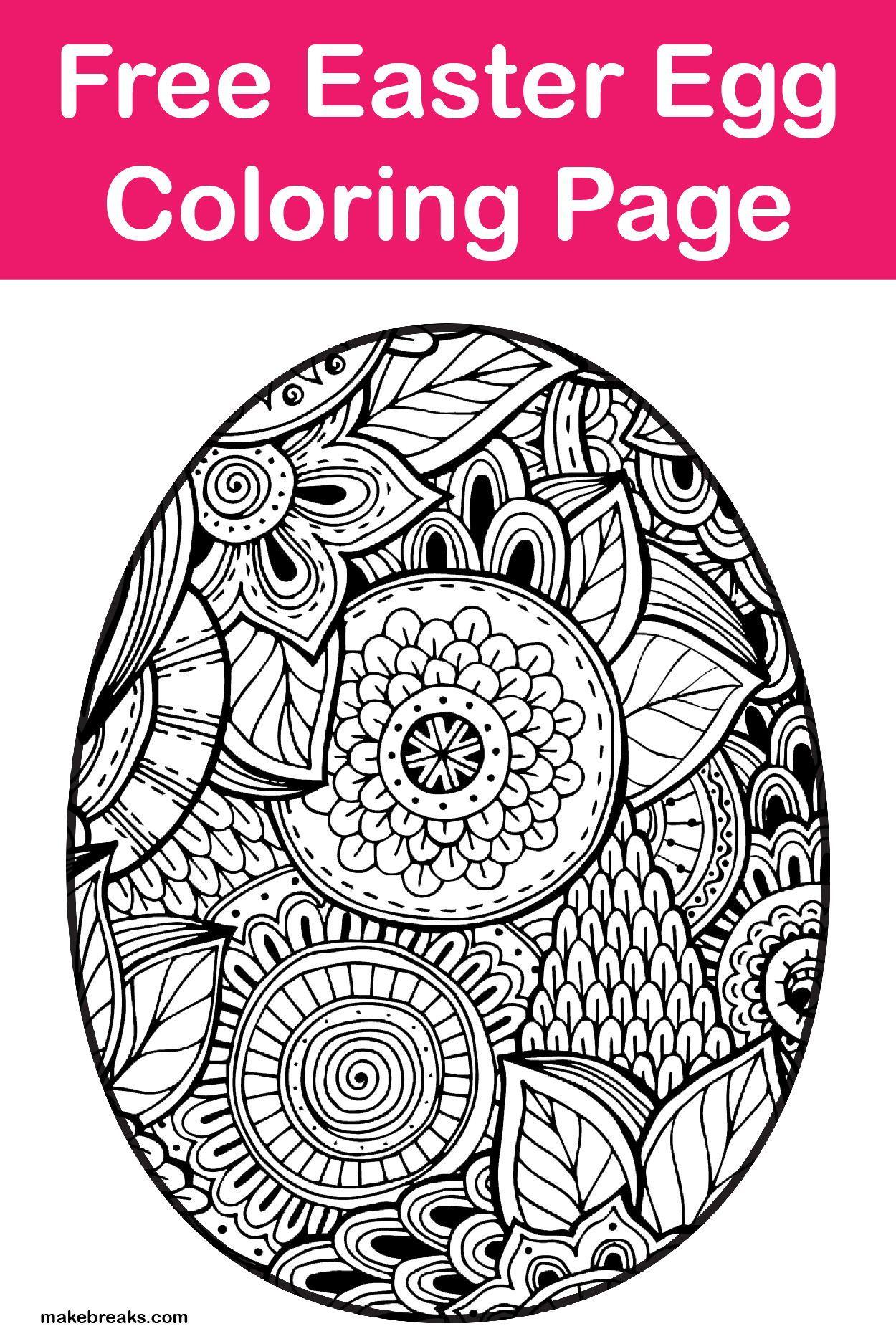free easter egg coloring page  make breaks  easter egg