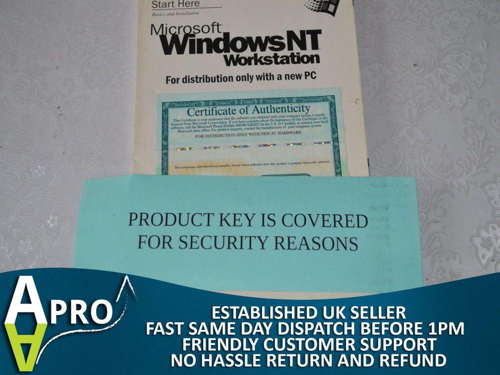 Original Microsoft Windows Nt Workstation Certificate Of