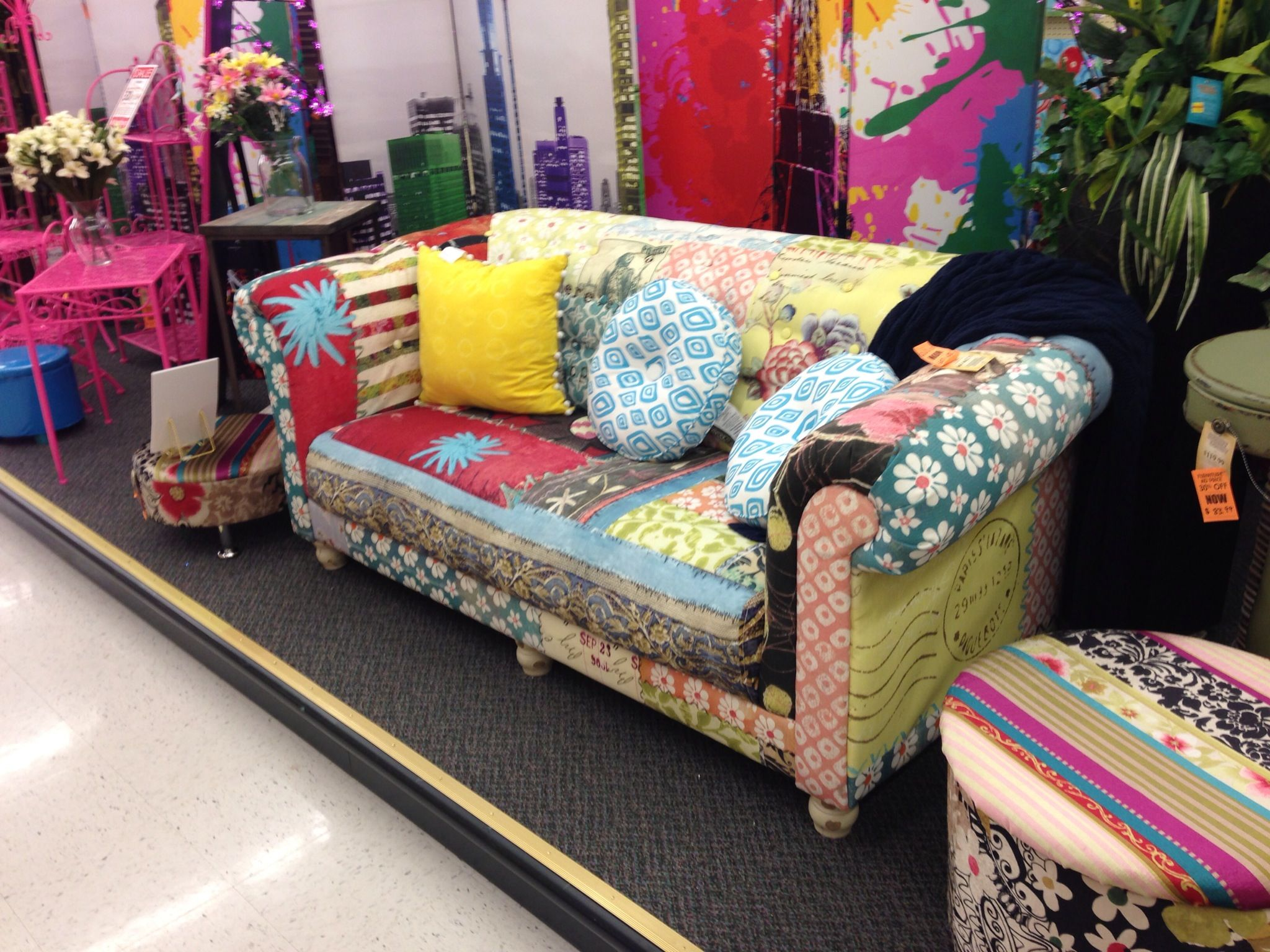 Multicolored Couch From Hobby Lobby Maybe If I Keep The A Solid Light
