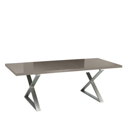 Click to zoom - Crossed leg gloss extending dining table stone