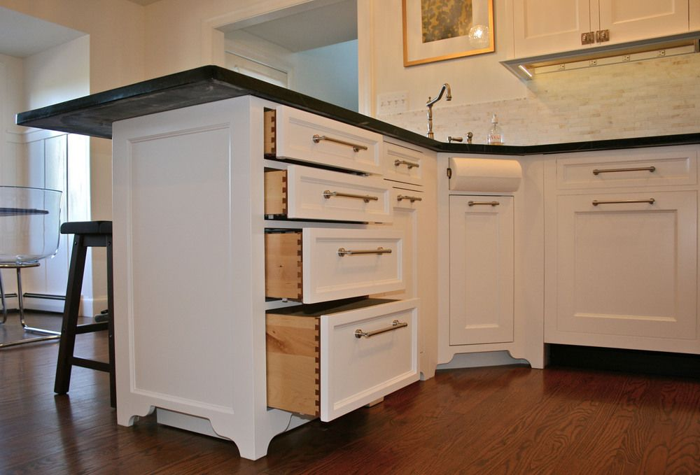 Custom white kitchen with dovetail drawers by