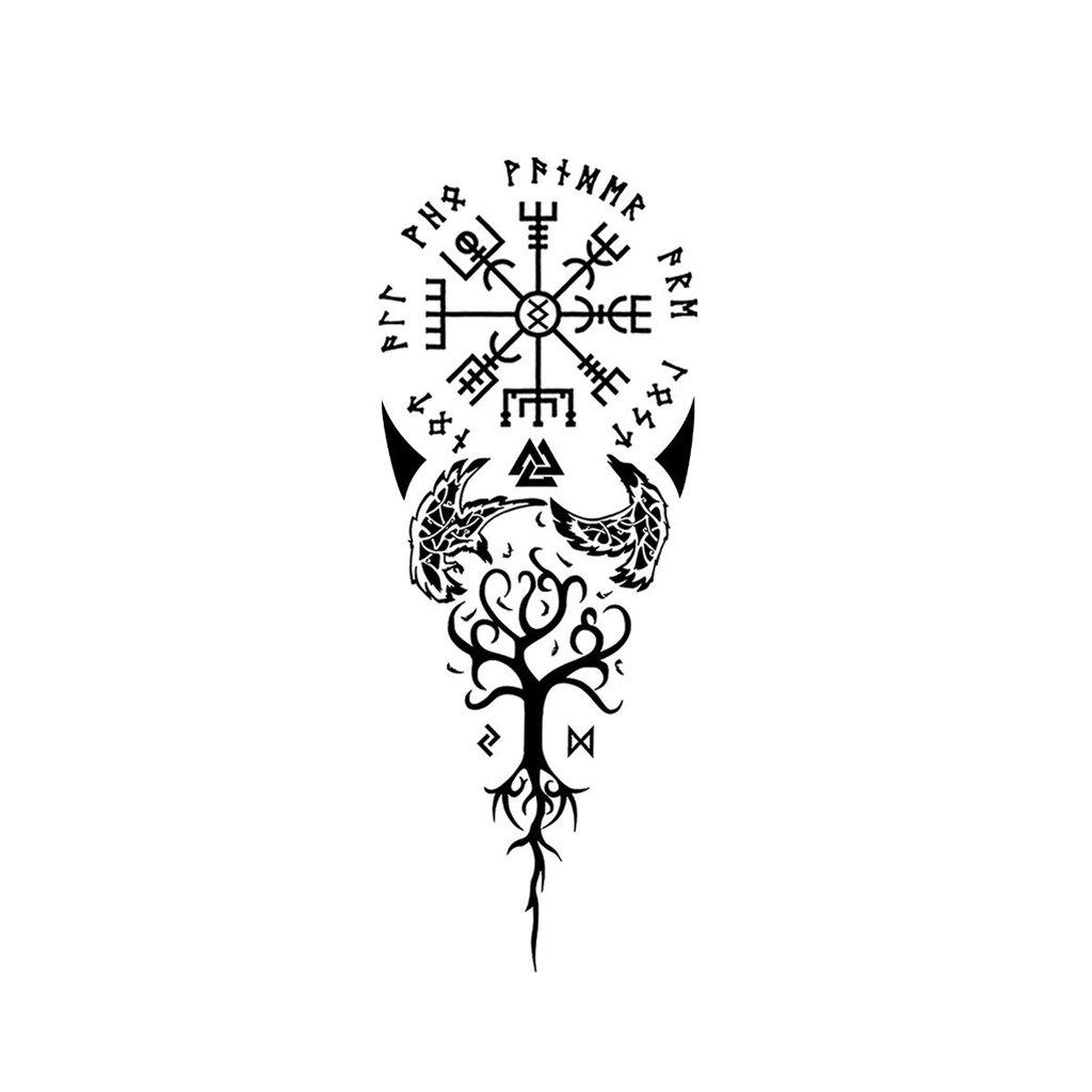 Vegvisir And Yggdrasil Norse Tattoo Viking Tattoo Sleeve Viking Tattoos For Men