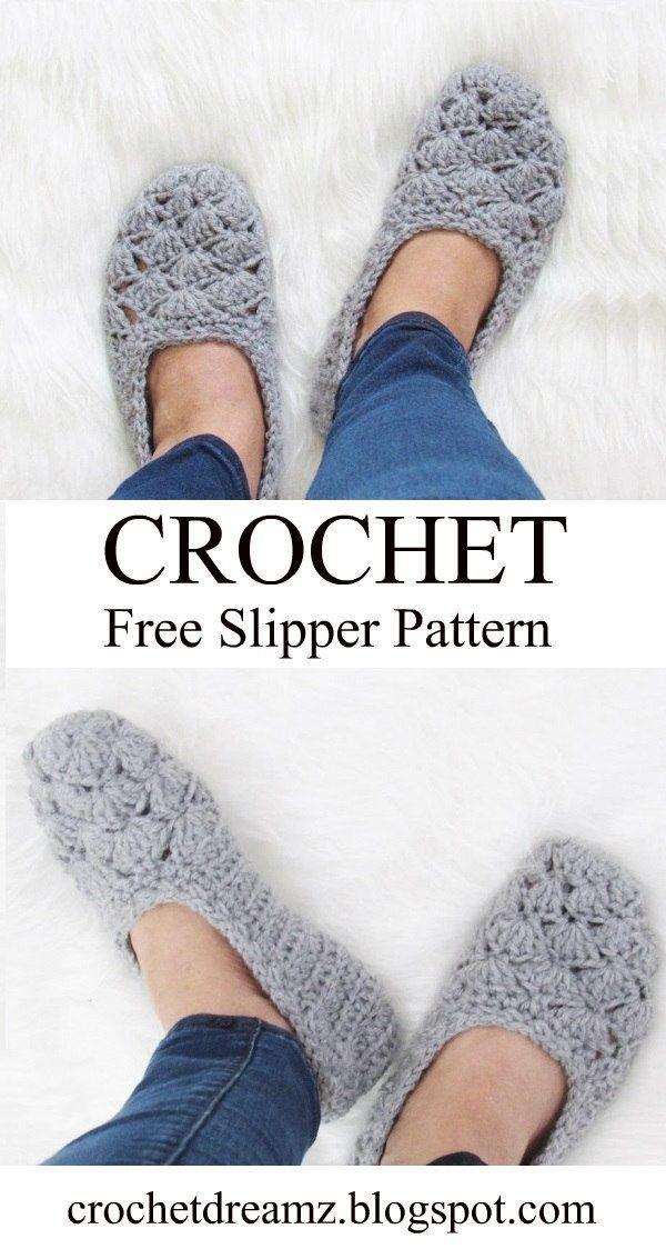 Free Crochet Slipper Pattern, Very easy en 2018 | Blankets new ...