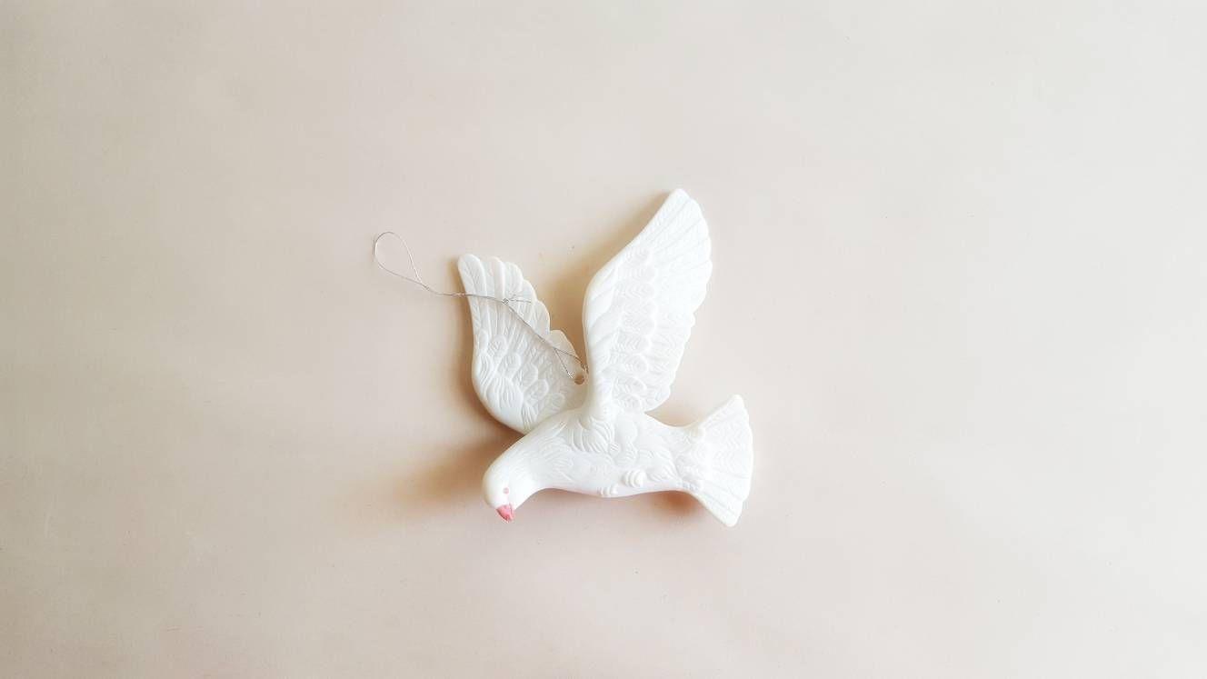Vintage Dove Christmas Tree Ornament White Bird