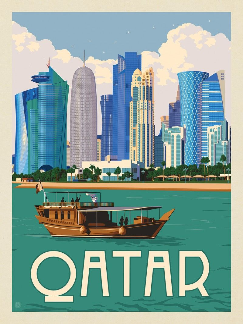 Qatar Anderson Design Group In 2020 Travel Posters Vintage Postcards Travel Travel Poster Design