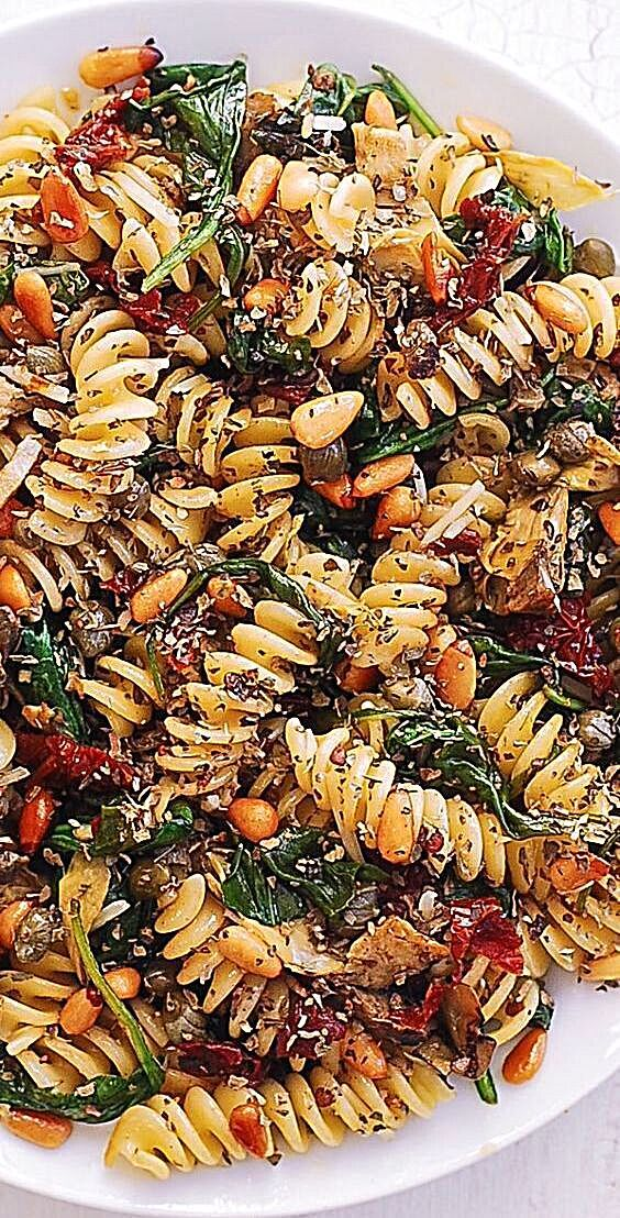 - Italian Pasta with Spinach, Artichokes, Sun-Dried Tomatoes, Capers, Garlic, and Pine Nuts! This me...