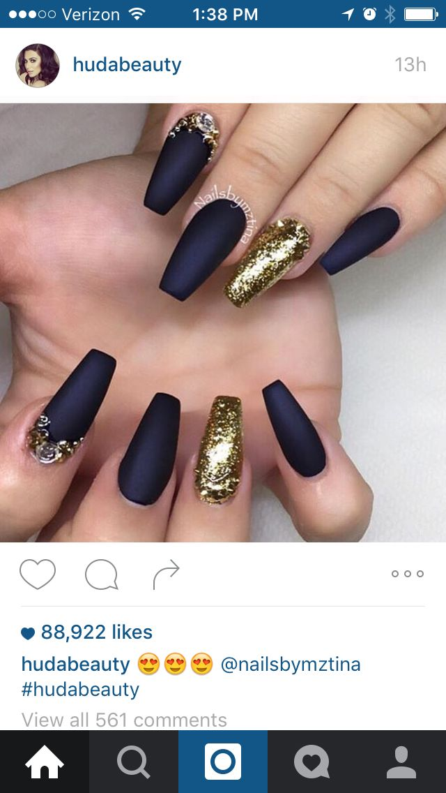 Navy Blue And Gold Matte Nail Design Nails Nail Art Matte Nails