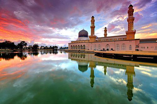 floating mosque of kota, kinabalu, malaysia by nora carol