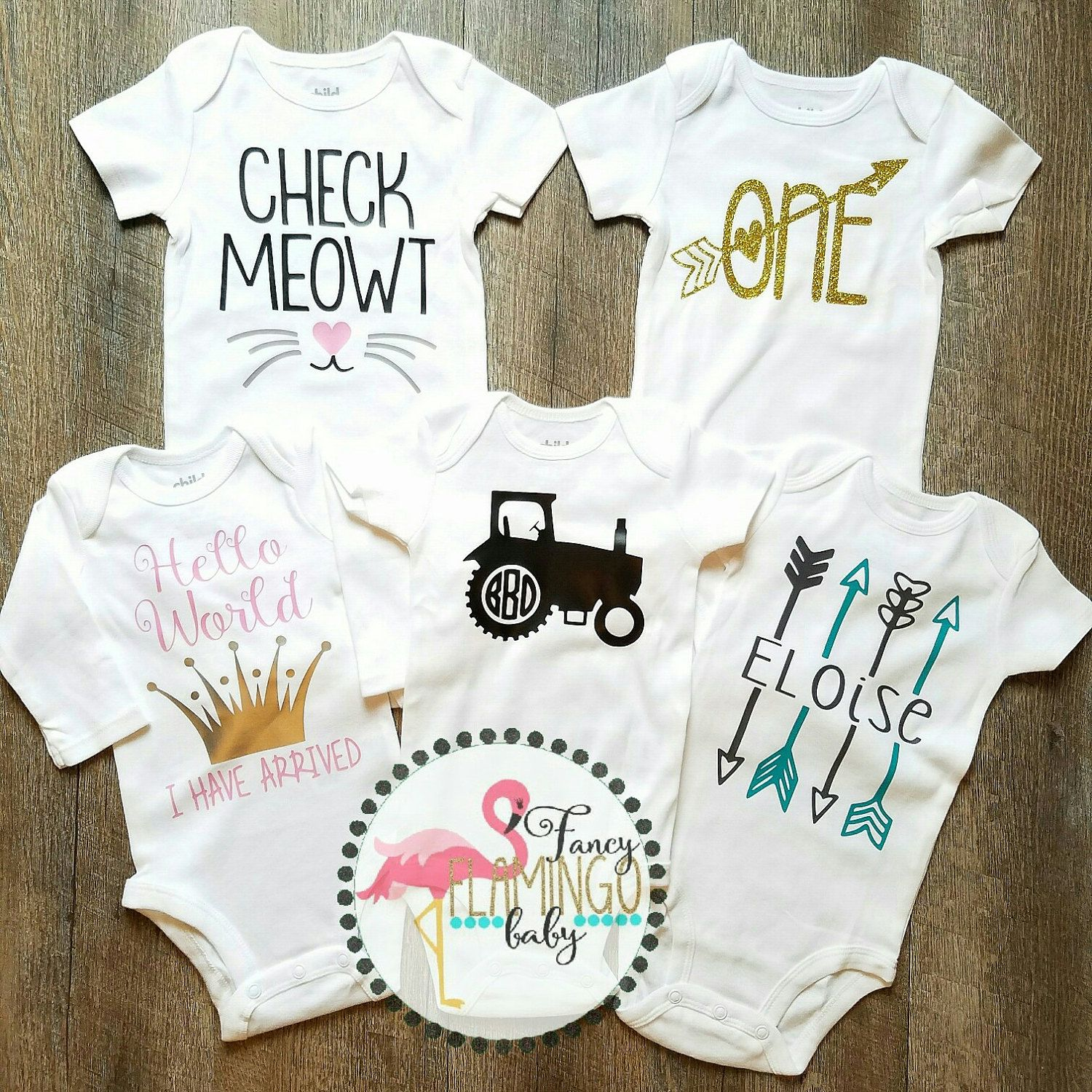 Custom onesies baby body suits! Check Meowt. Hello world I have arrived.  Tractor monogram 9f1f7c9faa41