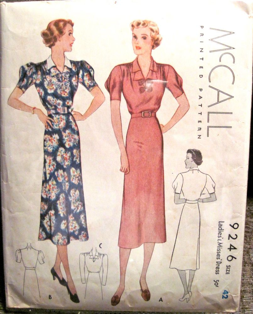 McCall 9246 | 1937 Ladies\' & Misses\' Dress | 1930s McCall Sewing ...