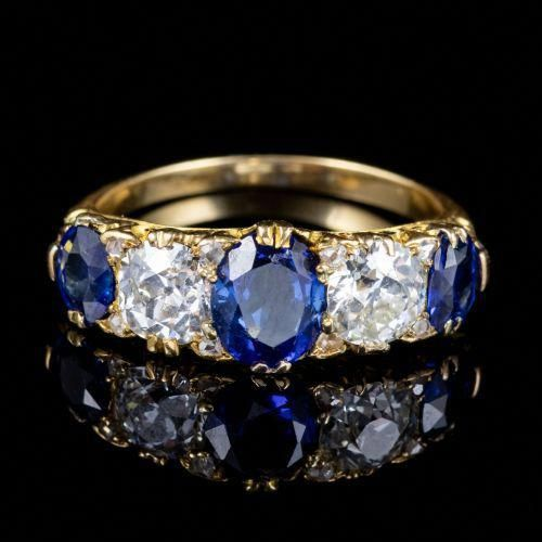 ANTIKE VIKTORIANISCHE SAPHIR DIAMANT RING 18CT GOLD CIRCA 1900 vorne # Diamantringe …   – Jewellery Choosing
