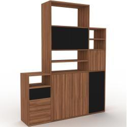 Photo of Holzregal Nussbaum – Modernes Regal aus Holz: Schubladen in Nussbaum & Türen in Nussbaum – 154 x 195
