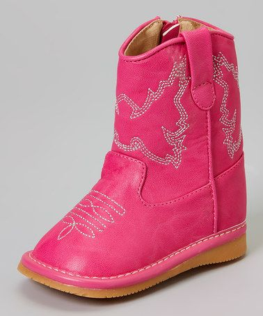 Take a look at this Hot Pink Squeaker Cowboy Boot on zulily today!