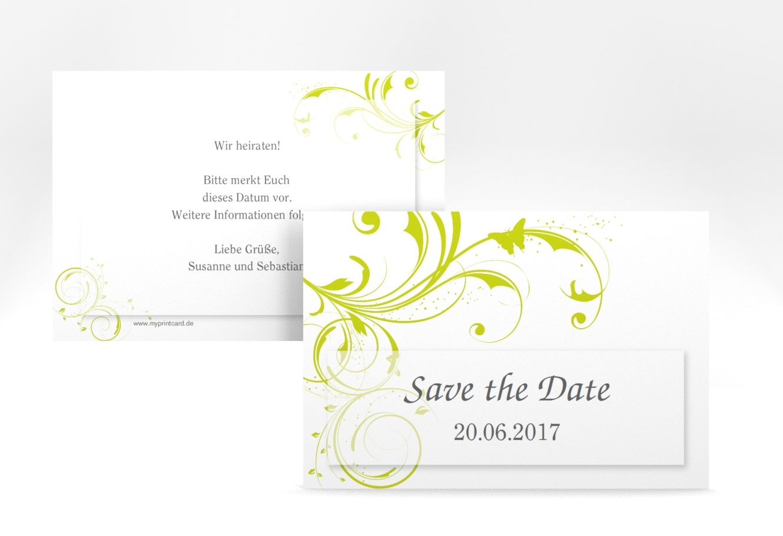 "Save the Date-Karte Hochzeit ""Palma"" A6 Karte gruen"