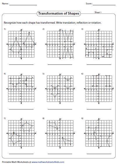 Geometry Reflection Worksheet Transformation Worksheets Reflection Translation Rotation Free