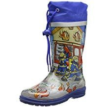 Modernas botas de goma para niños con dibujos de bomberos.Diseño de franjas  con suela antideslizante.Práctico cierre de.el reflector en la caña 9b68ed807e995