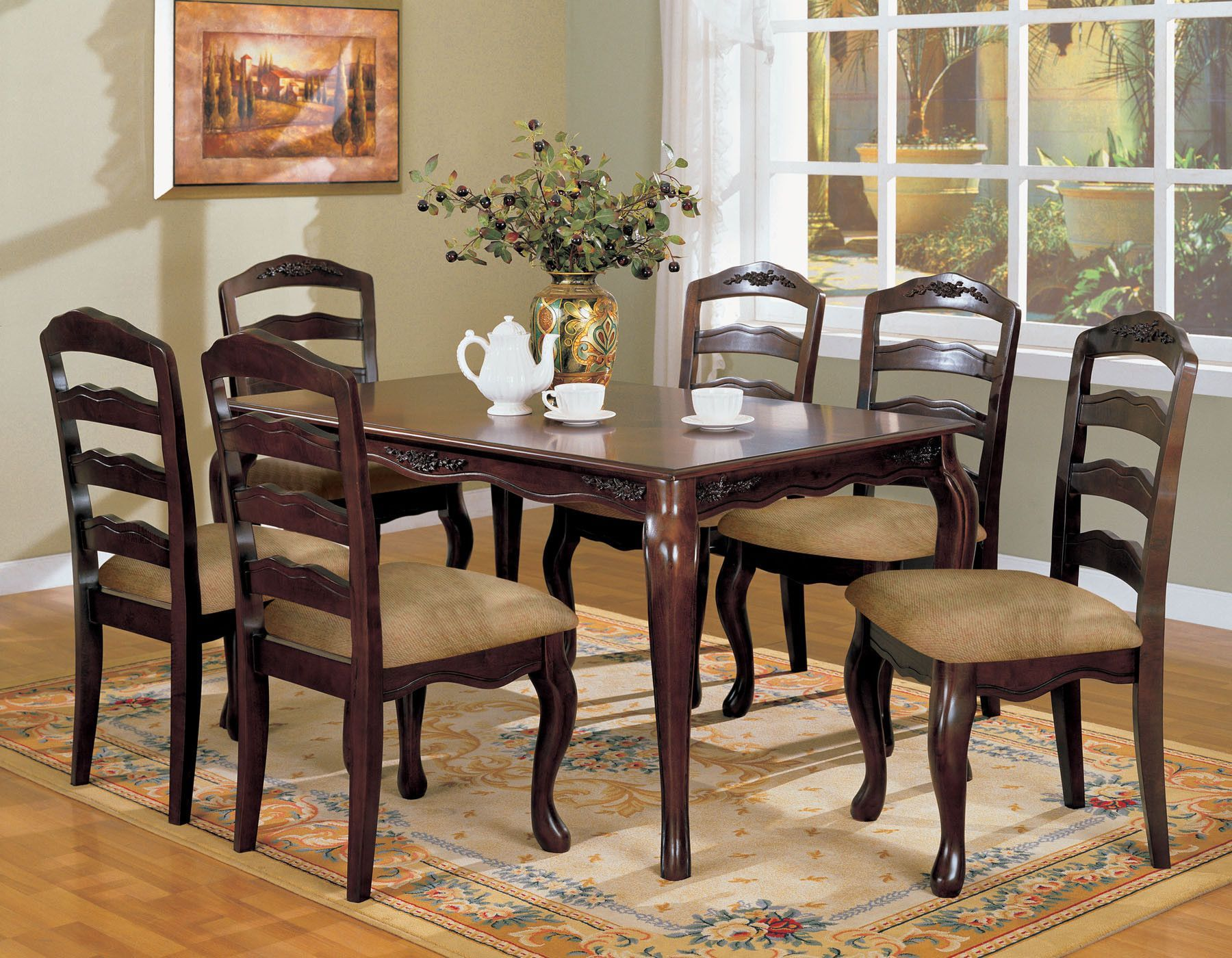 Townsville 7 Pcs Dining Table Chairs Set Cm3109t Dining Room Sets Dining Furniture Rustic Dining Furniture