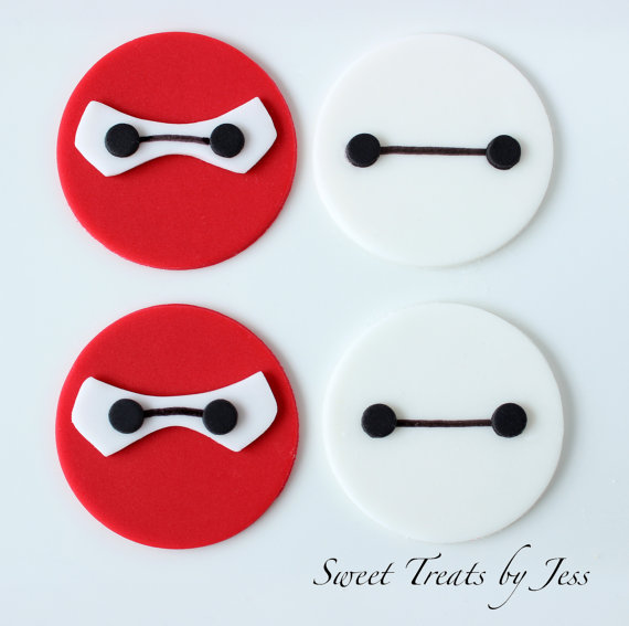 Set of 12 Baymax Big Hero 6 Fondant Edible Cupcake Toppers Edible