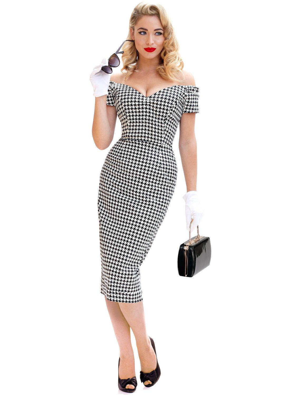 Rhonda's Revenge Vintage Houndstooth 50s Pencil Dress   Want
