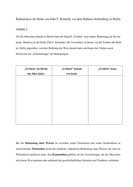 Redeanalyse Der Rede Von John F Unterrichtsmaterial Im Fach Deutsch Deutsch Unterricht John Rathaus Schoneberg