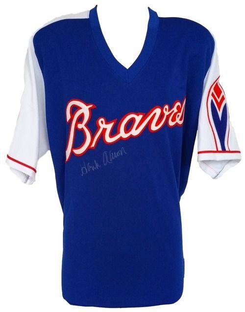 223e1592 Hank Aaron Signed Braves Blue Majestic Cooperstown Jersey JSA Letter ...