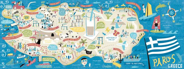 Illustrated map of Paros Greece for They Draw  Travel by Nate