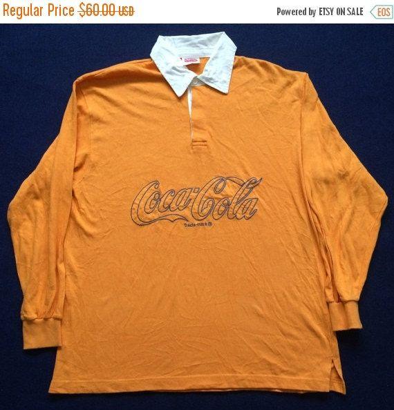 dda920c6 ON SALE 25% Vintage Coke Coca Cola Rugby 80s 90s Long Sleeve L Rare Mens  shirt