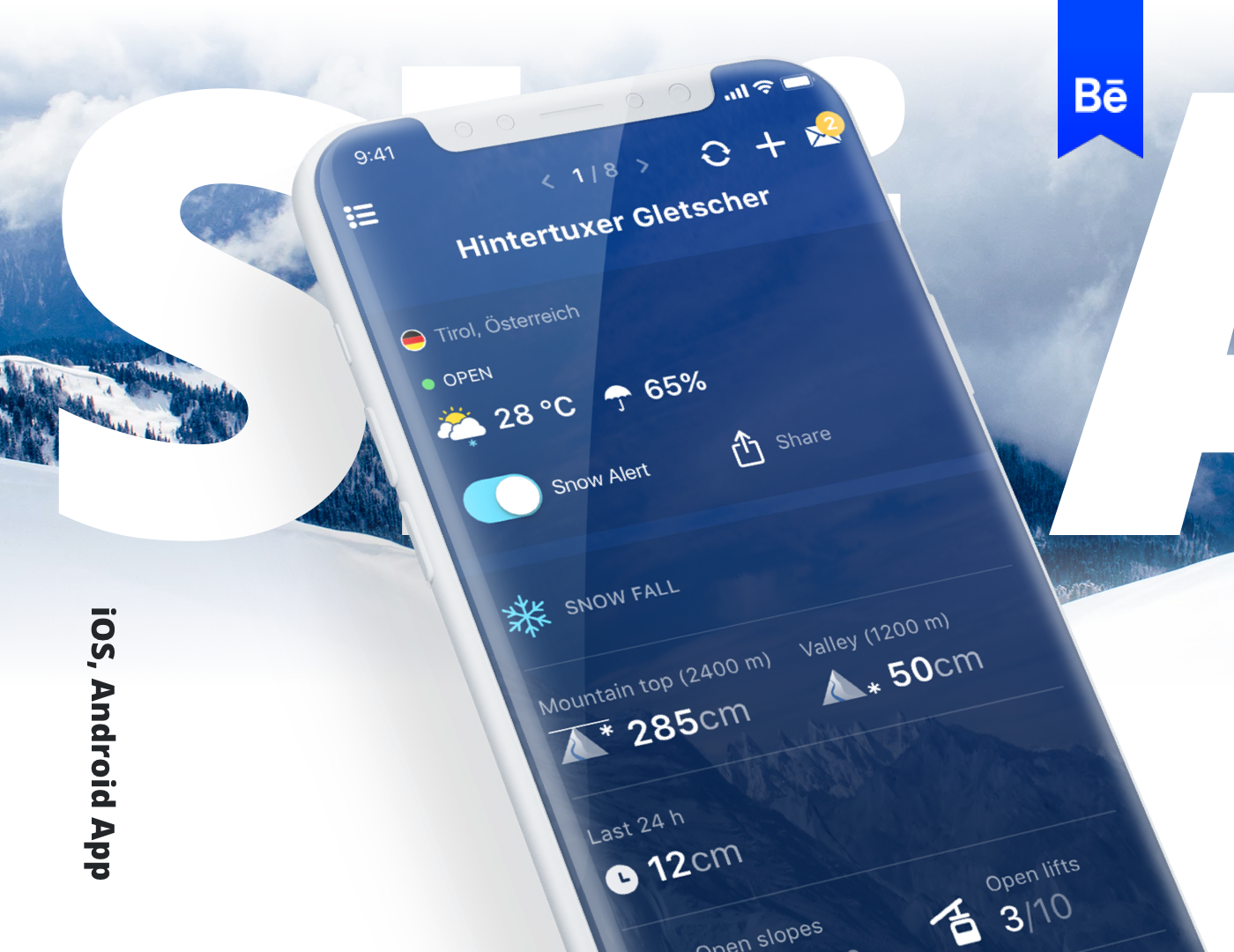 """Check out this Behance project """"Schneehoehen Ski App"""