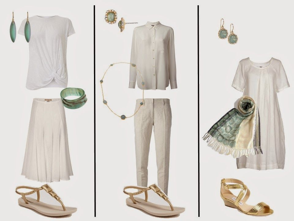 White Outfits with Grey, Turquoise, or Celadon Green Accessories