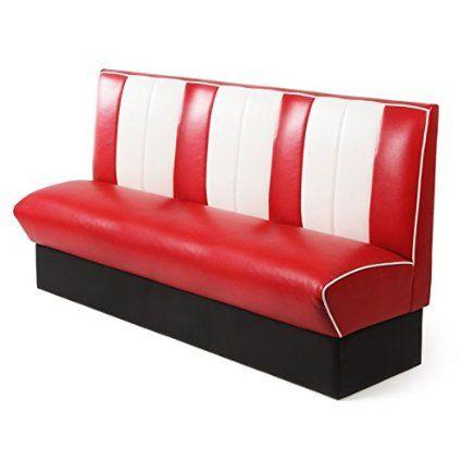 Tremendous Retro Diner Booth Triple Seat Red Vintage Diner Seating Creativecarmelina Interior Chair Design Creativecarmelinacom