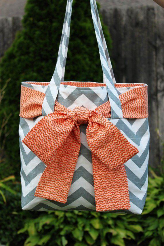 X-LARGE gray and white CHEVRON stripe zigzag Handbag/ Diaper Bag/ Purse/ Tote/ Beach Bag with Orange Bow/Sash