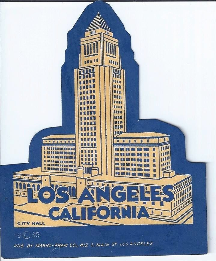 Vintage Los Angeles California City Hall Travel Decal Ebay California City Travel Travel Stickers