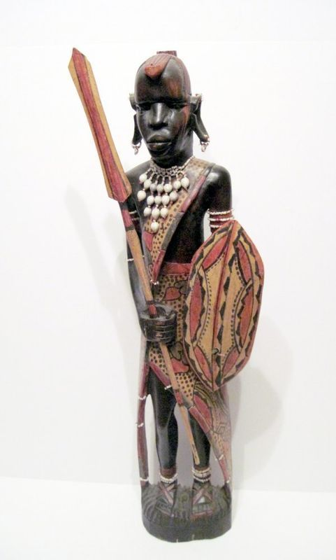 23 inch carved and painted Maasai Warrior Sculpture