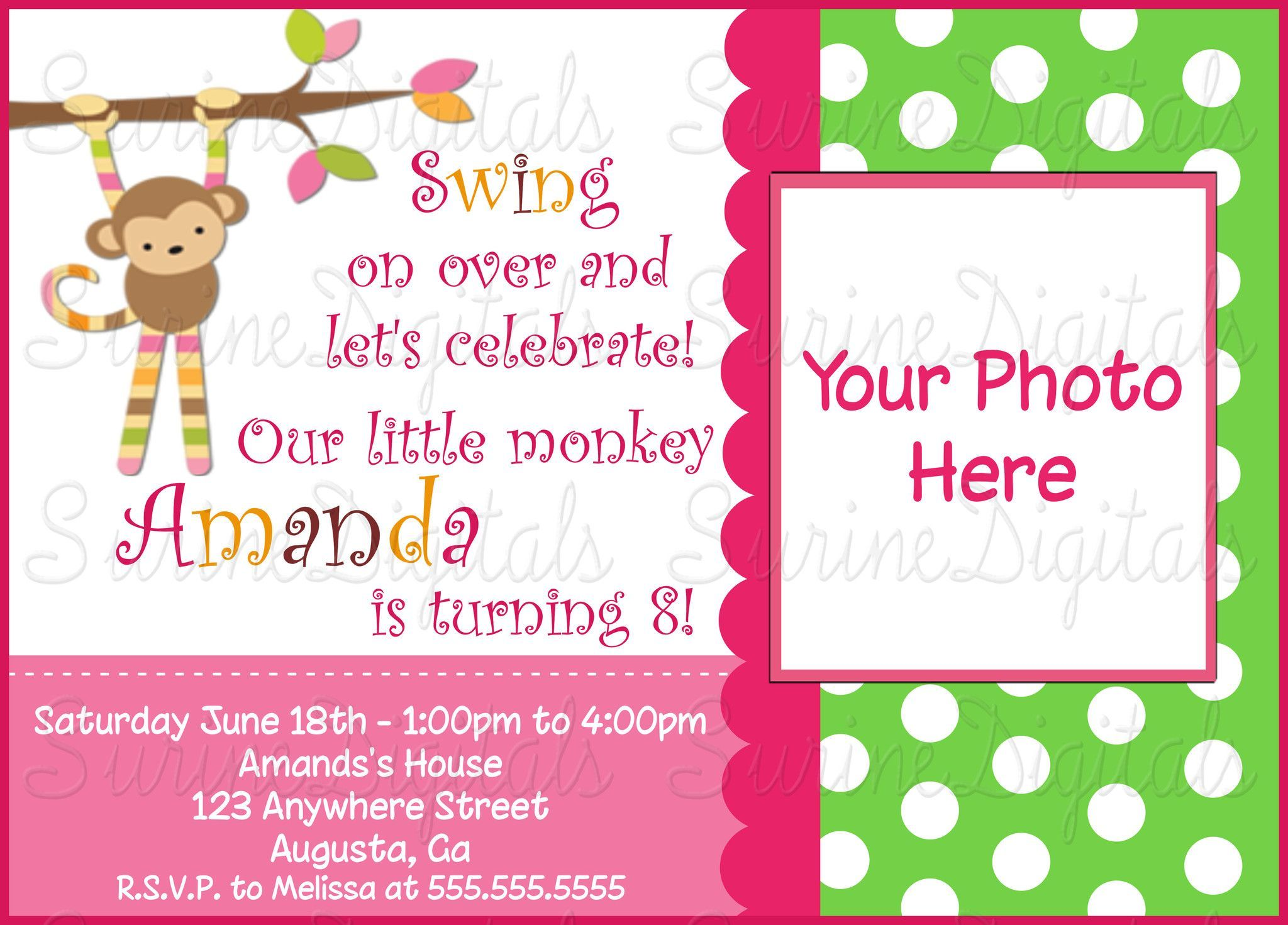 Mod Monkey Birthday Party Invitation With your childs photo/ Mod ...