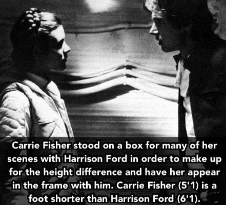 Weird To Know I M Currently Two Inches Taller Than Carrie Fisher I D Feel Bad Making Someone Stand On A Box Star Wars Facts Star Wars Jokes Star Wars Galaxies