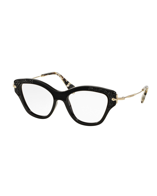 Miu Miu Bead-Trim Cat-Eye Optical Frames, Black | Optical frames ...