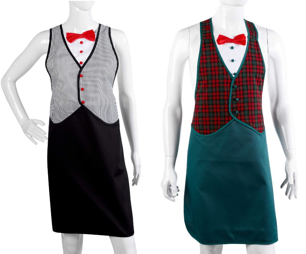 White apron fancy dress - Tuxedo Style Novelty Aprons Tartan Or Black White