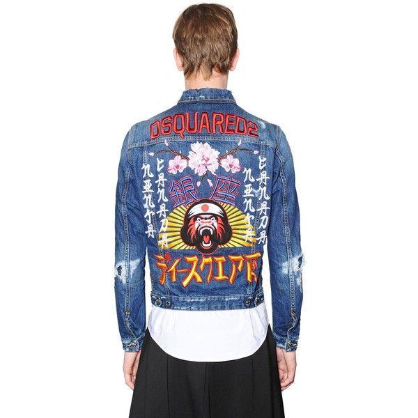 b04167e601 Dsquared2 Men Japan Embroidery Distressed Denim Jacket ( 1