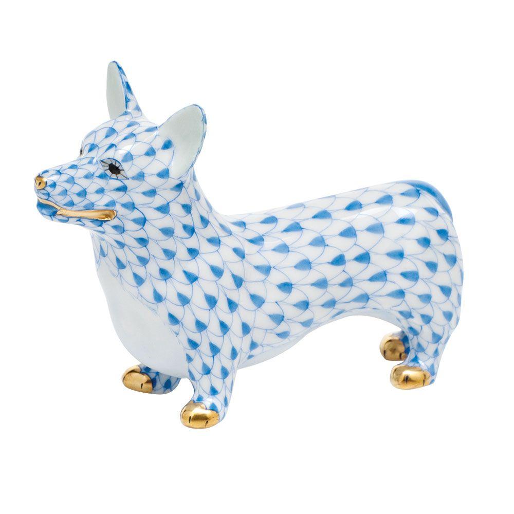"Herend Kangaroo Hand Painted Porcelain Figurine In Pink: Herend Hand Painted Porcelain Figurine ""Corgi"" Blue"