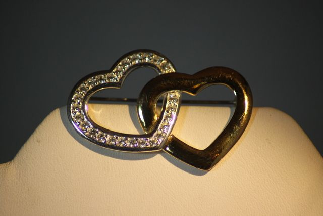 Vintage Monet Double Heart Rhinestone Pin. Starting at $10 on Tophatter.com!On auction now 4/25 10pm est http://tophatter.com/auctions/20453