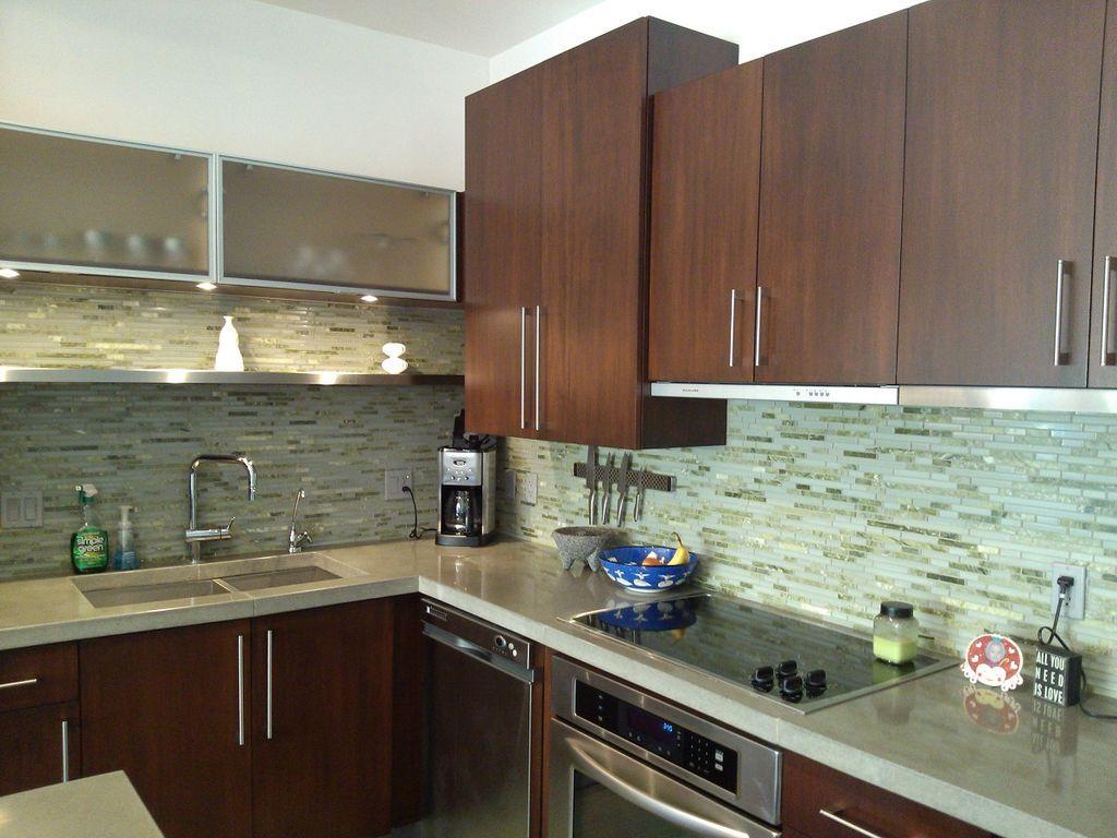 Modern kitchen with verdicrete engineered concrete countertops