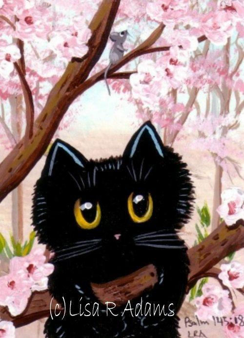 Cherry Tree Blossoms Black Cat Mouse Aceo Print Of Original Painting Creationarts Black Cat Art Cat Illustration Black Cat