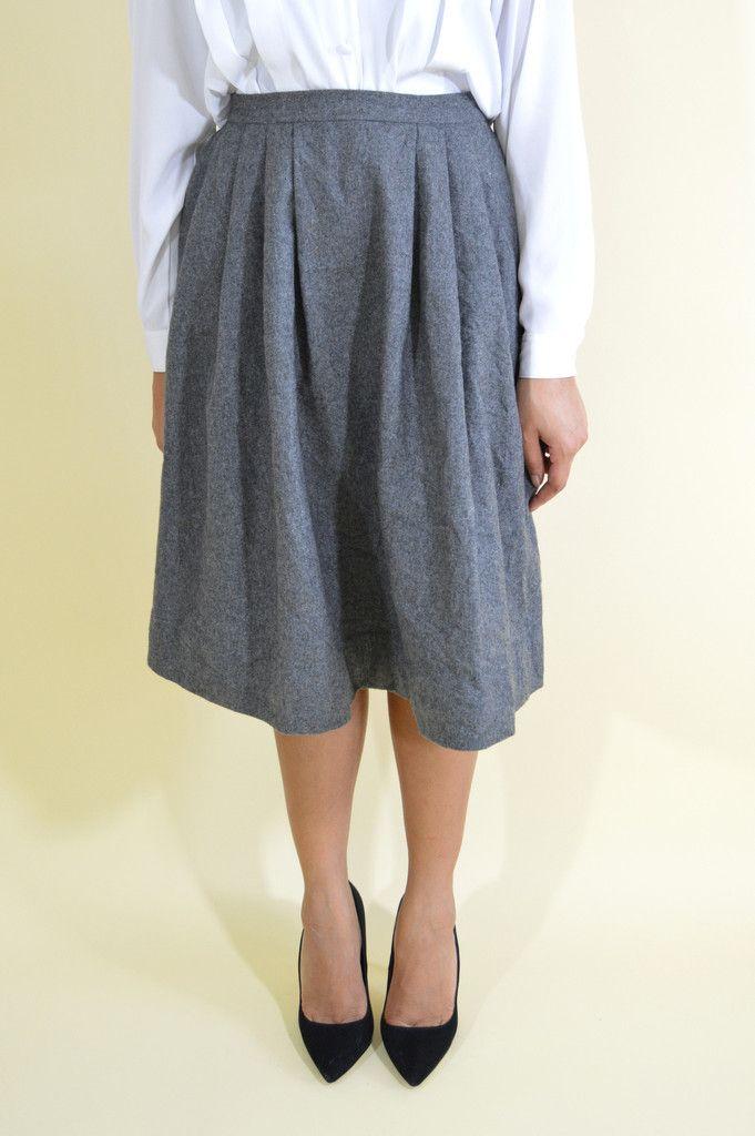 Grey Wool Midi Skirt . Medium . 1970s