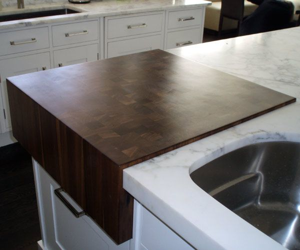 8 Thick End Grain Walnut Butcher Block Flush Marble Marble