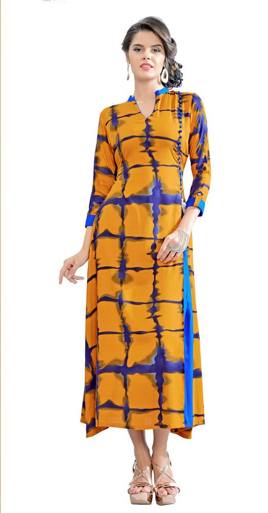 2041a1d0b9 India Kurta Kurti Designer Women Ethnic Dress Top Tunic Bollywood Mustard  Blue #RadhaKrishnaExports #TunicKurti #PartyWearFestivalWear