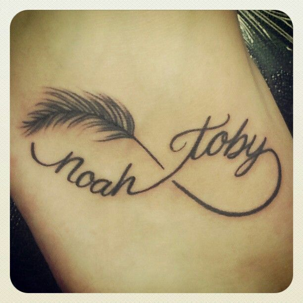 Idee tattoo infini femme avec plume et 2 prenoms tatoo tattoo and tattoo feather - Idee tatouage prenom ...