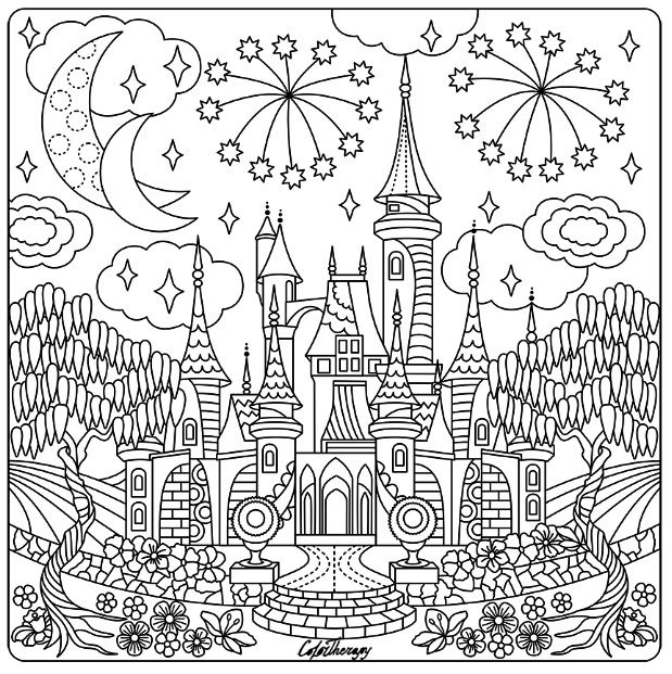 Fairytale Castle Color Therapy App Is Fun And Relaxing Try This App For Free Get Colortherapy Me Castle Coloring Page Coloring Books Free Coloring Pages